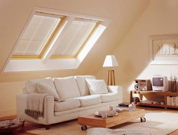 Dachgeschoss Einrichten Weisse Farbe Wohnzimmer