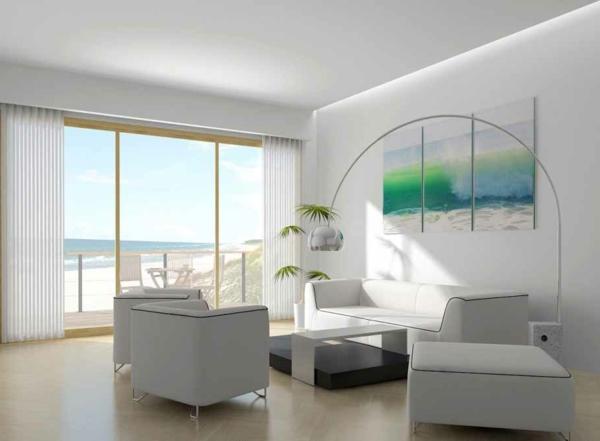 bild wohnzimmer grün:Farbbedeutung-Grün-grüne-Bild-an-der-Wand-mit-grünem-wasser