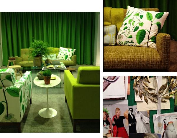 Farbbedeutung-Grün-interiores-Design-im-grünen-Nuancen-grünen-Sofas-und grünen-Kissen