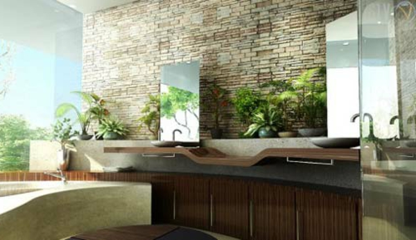 Farbbedeutung-Grün-interiores Design-natürlcihen-Elemnete-und-ywei-Spiegeln