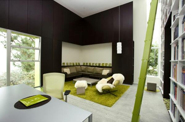Farbbedeutung-Grün-modern-und-hübsch-im-grün-wohnzimmer-und-die-bibliothek