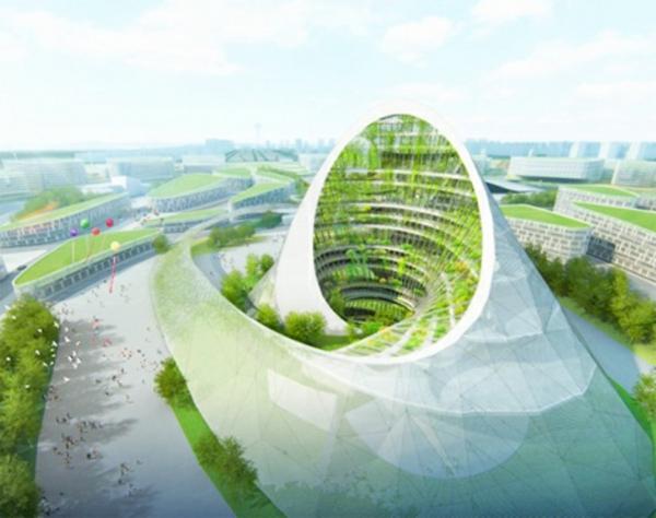 Farbbedeutung-Grün-moderne-Architektur-futurischisches-Design