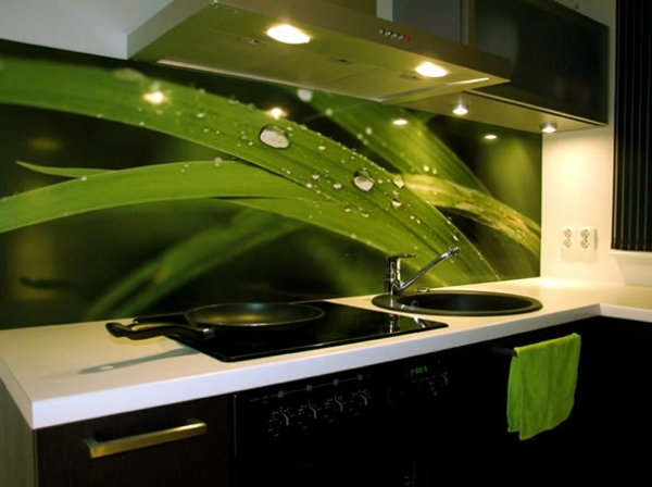 Moderne schwarze Küche mit grünem Tuch und grünen Tapeten.