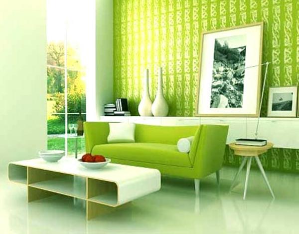 Farbbedeutung-Grün-modernes-Retrodesign-im-grün-mit weissen