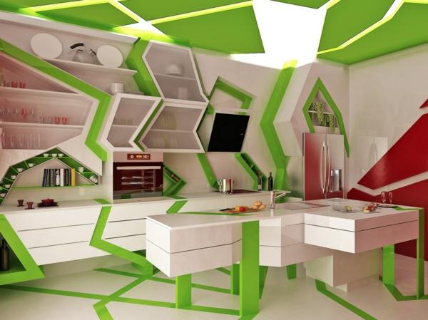Farbbedeutung-Grün-modernes-design-mit-Kubismus-Elementen