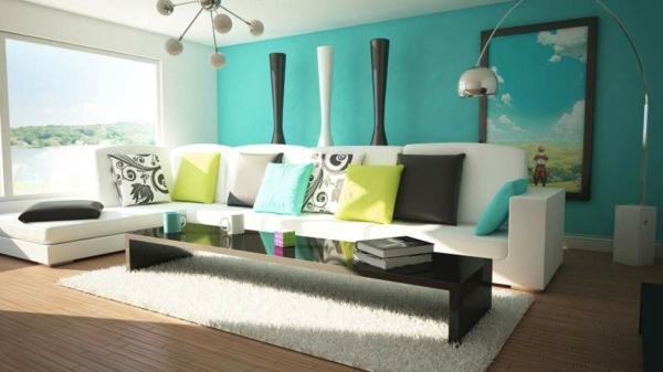 Farbbedeutung-Grün-sehr-angenehmes-Design-mit-vielen-bunten-Kissen