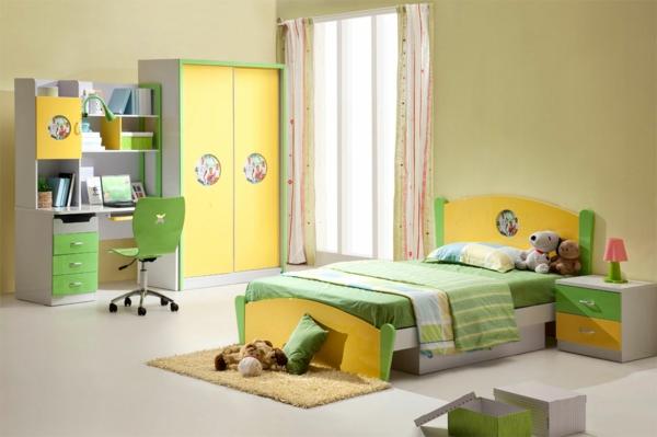 Kinderzimmer-Wohnideen-gelber-Kleiderschrank-grüne-akzente