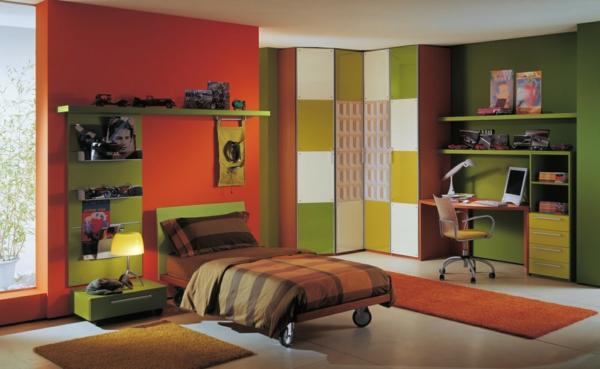 Farbideen-für-Kinderzimmer-dunkelorange-und-grün