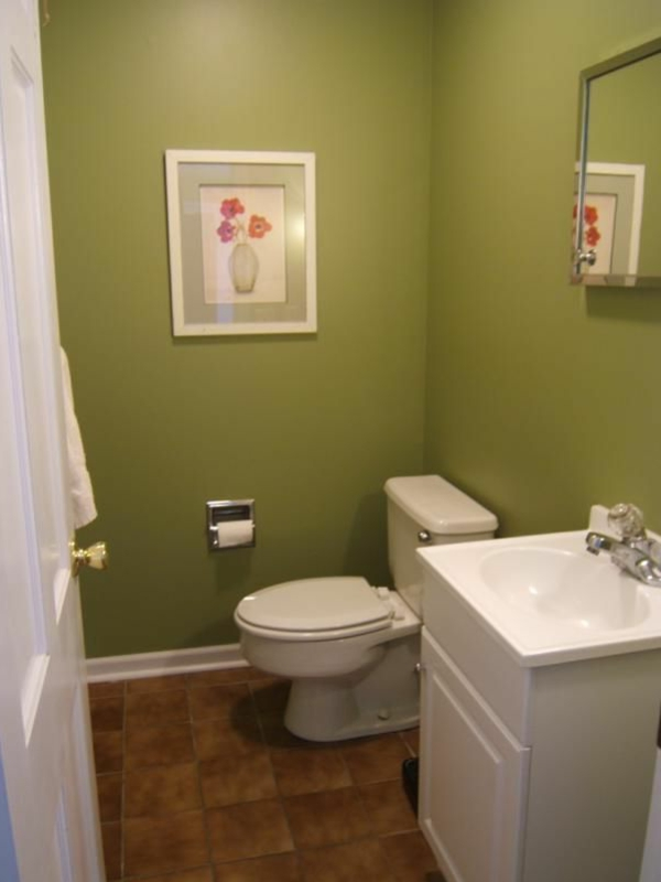 wohnzimmer olivgrün:Olivgrüne Wandfarbe im Badezimmer.