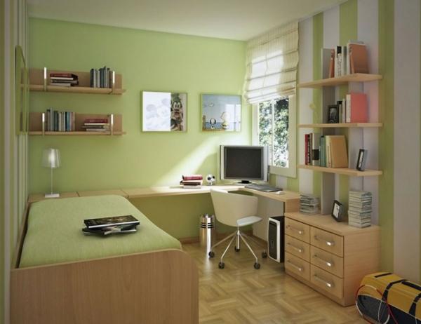 Farbideen-für-Wand-hellgrün-für-teenage-zimmer-mit-weissem-stuhl