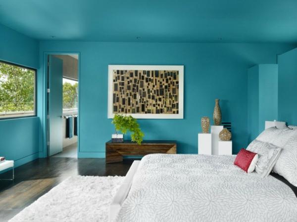 Farbideen-für-Wand-warm-grün-mit-dem-bild-an-der-wand