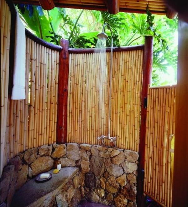 Garten Dusche Paravent Bambus Ideen Stein Boden Draußen  Sichtschutz ...
