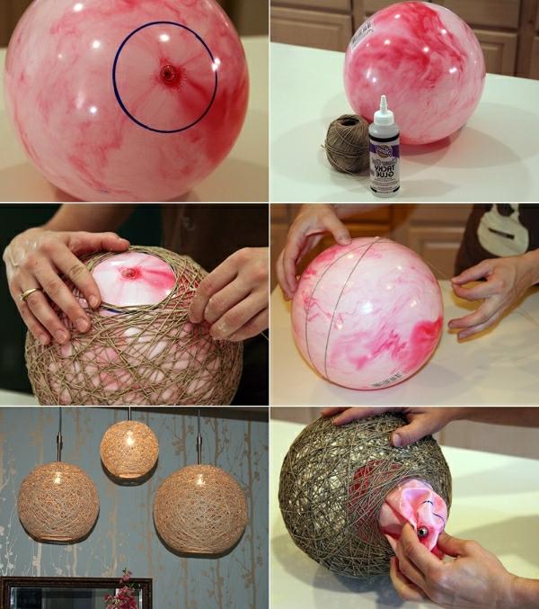 Hängeleuchten-selber-machen-mit-ballons-garn-kleber