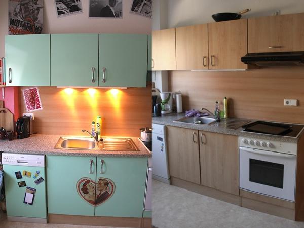 Küchenschränke-bekleben-muster-mit-mint-farbe