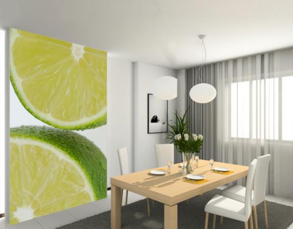 wohnideen-Küchenwandgestaltung-lime-tapete