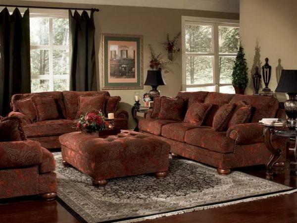 Mediterrane-Einrichtungsideenrot-orange-sofas