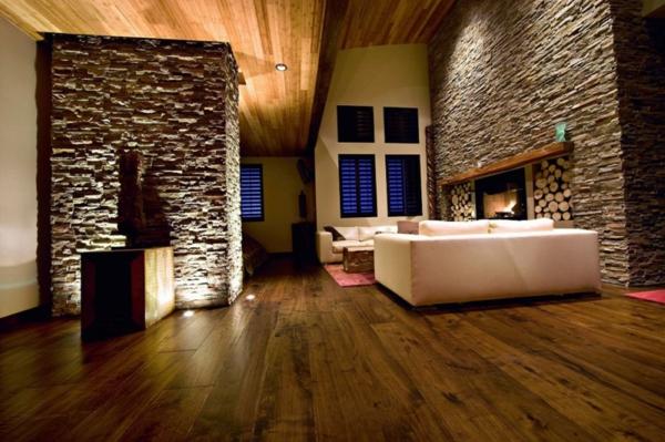 Natursteinwand Im Wohnzimmer Dunkel