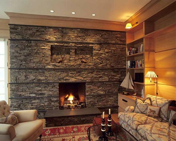 Natursteinwand im wohnzimmer im landhausstil gestalten - Wandgestaltung wohnzimmer stein ...