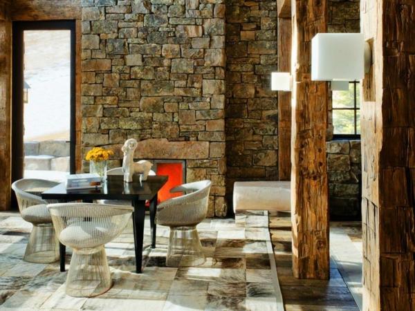 natursteinwand im wohnzimmer im landhausstil gestalten. Black Bedroom Furniture Sets. Home Design Ideas