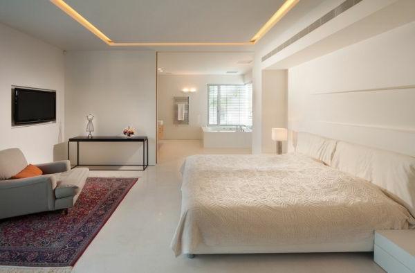 Schlafzimmer-mit -Led - Bettleuchte-weiss