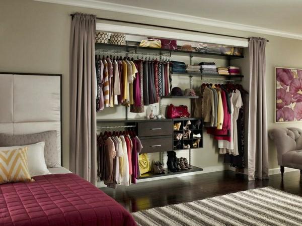 Schlafzimmerschranksysteme-kleiderschrank-ordnungssystem-rote-bettwäsche