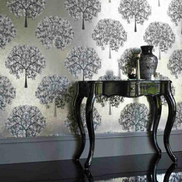 Wandfarbe-mit-Metalleffekt-wandgestaltung-farbe-tisch-deko- elegante gestaltung