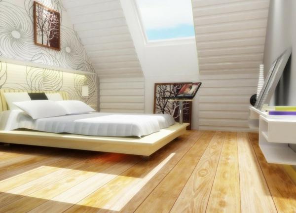 Wohnideen-Dachgeschoss-weißes-schlafzimmer-mit-holzboden-tapeten