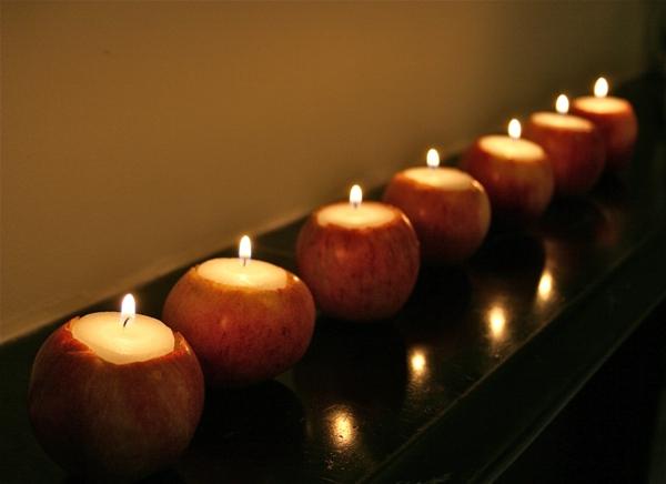 apfel-deko-kerzen- romantische atmosphäre schaffen