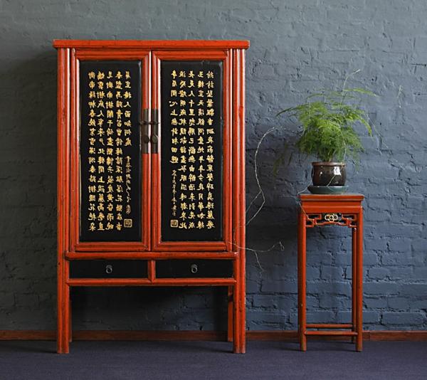 asiatische-schränke-interessante-gestaltung- eine dekorative pflanze neben dem schrank