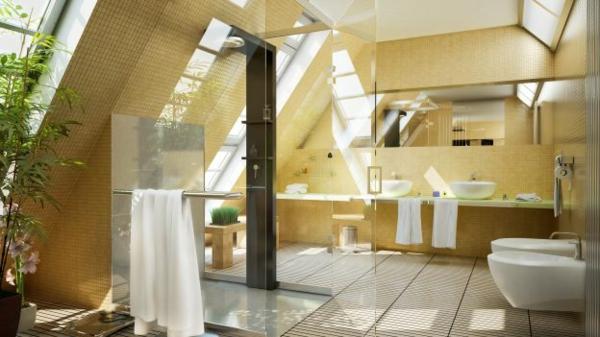 Bad Fliesen Dachgeschoss : Ein Badezimmer im Dachgeschoss mit gelben Fliesen und Duschkabine mit