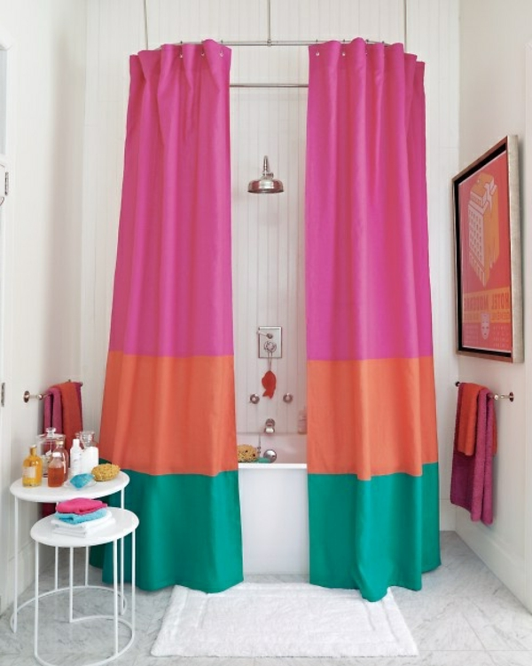 badvorhang-rot-rosa-mint