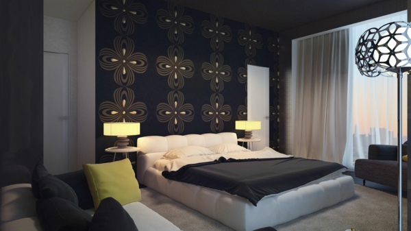bedroom-wonderful-black-dark-brown-swirl-wall-with-chic-bedroom-also-stainless-floor-lamp-cool-bedroom-wall-design-decoration-ideas-resized