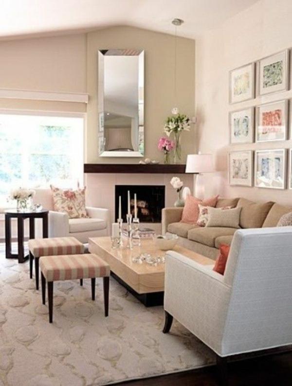 Beige Farbtöne Wohnzimmer Gestaltung Ideen