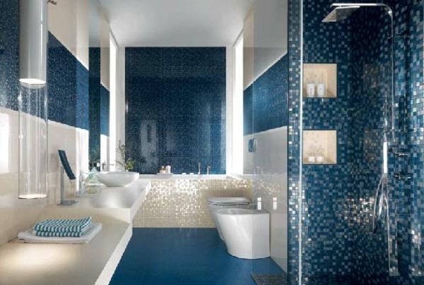 Elegant Blaue Bodenfliesen Dunkles Badezimmer