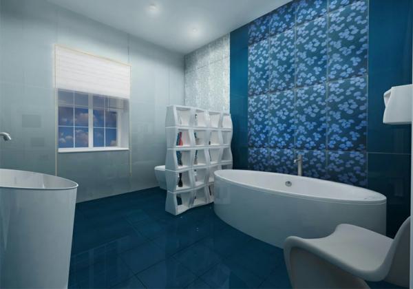 20 beispiele f r blaue bodenfliesen im badezimmer for Carrelage sdb bleu