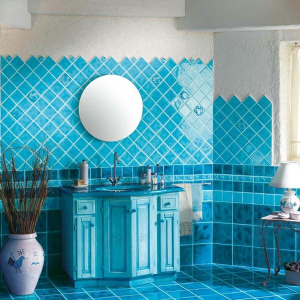 20 Beispiele für Blaue Bodenfliesen im Badezimmer - Archzine.net