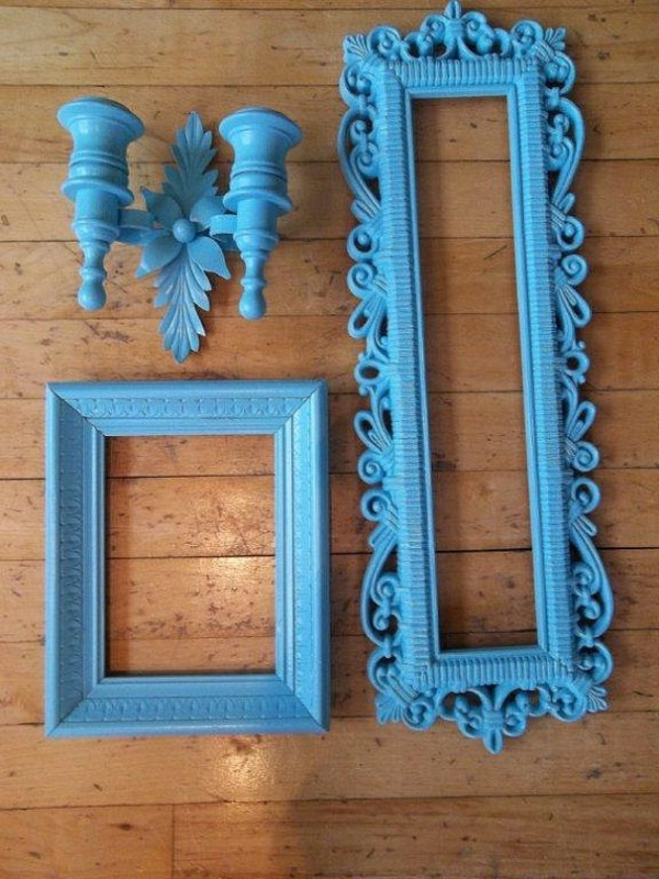 blaue-farbtöne-akzent-deko-rahmen