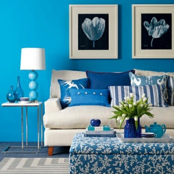 blaues wohnzimmer | möbelideen, Wohnzimmer dekoo