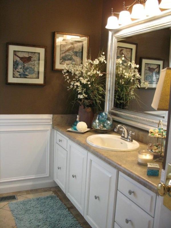 braune mobel badezimmer einrichten mit farben
