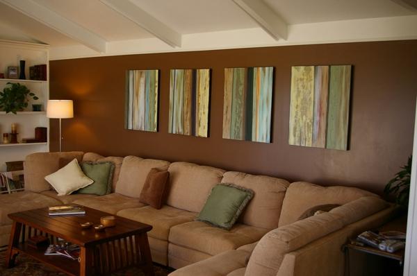 wohnzimmer wände farben:Einrichten mit Farben : Braune Möbel und Wände für Erdverbundenheit