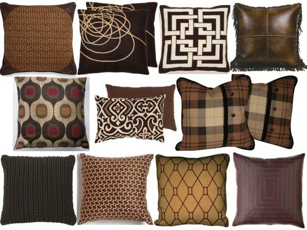 deko wohnzimmer braun:Braune Möbel im Wohnzimmer mit Deko Kissen in Braunen Motiven