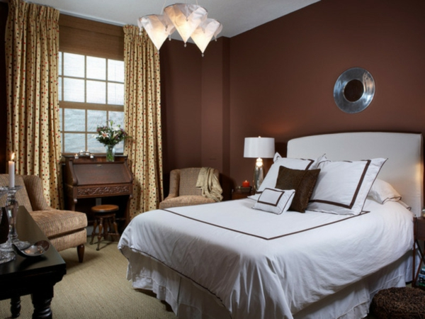 Schlafzimmer braune wand  Einrichten mit Farben : Braune Möbel und Wände für ...