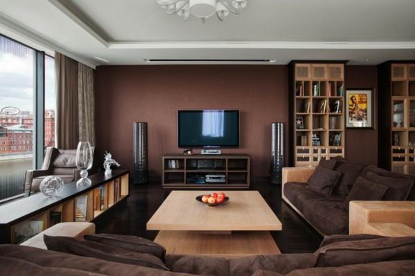 braune-möbel-wohnzimmer-holz