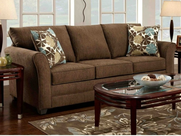 Braunes wohnzimmer beispiele home design inspiration und m bel ideen Wohnzimmer braunes sofa