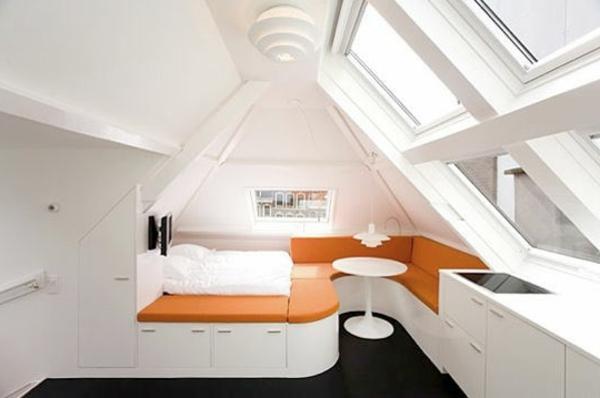 Genial Dachgeschoss In Weiß Und Orange Originellen Design