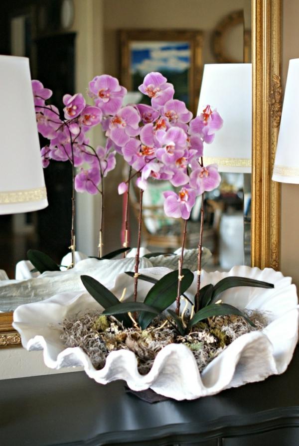 deko-mit-orchideen-interessanter-blumentopf- vor einem spiegel