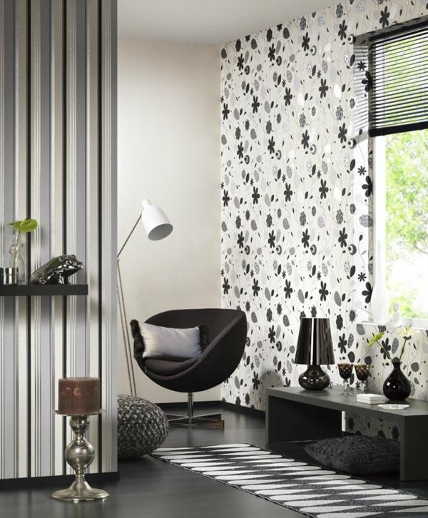 dekotapeten-Schwarz-weiß-blume