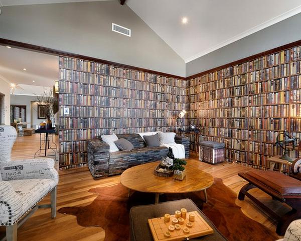 design-idee-wohnzimmertapete-bücherregale-an-der-wand