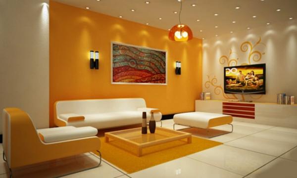 eigenartige-beleuchtungsideen-für-wohnzimmer-akzentwand in orange