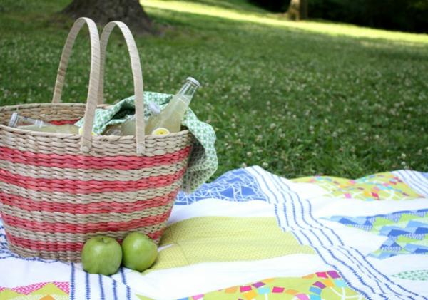 ein-korb-auf-einer-picknick-decke- zwei grüne äpfel daneben